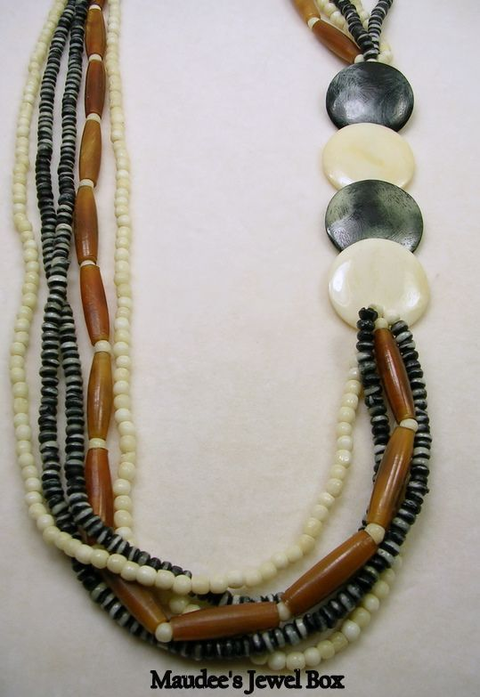 Vintage 1980s Simulated Tortoise, Ivory, and Granite Beaded Necklace