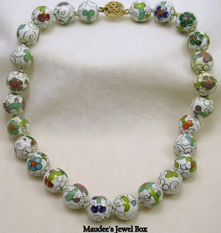 Vintage Cloisonné Hand Knotted Glass Beaded Choker Necklace