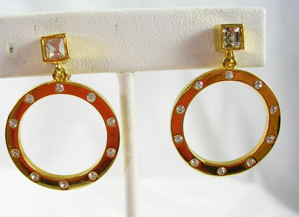 Vintage Givenchy Dangle Hoop Clip Earrings in Gold Tone – Stunning!