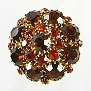 Vintage Domed Brooch Pin with Amber and Citrine Rhinestones – Beautiful!