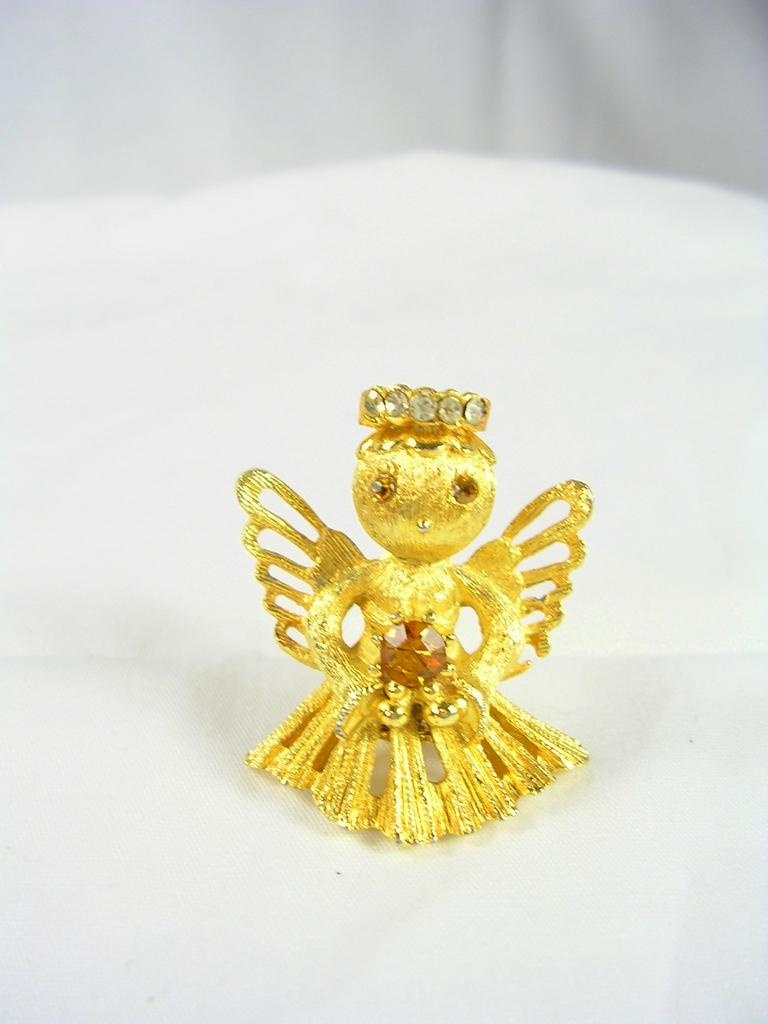 Collectible Christmas Angel in Gold Tone with Rhinestones