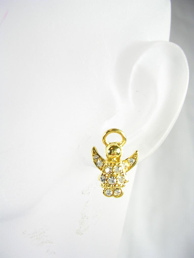 Collectable Angel Pierced Earrings in Gold Tone