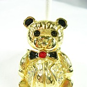 Bear with a Swivel Head in Enamel and Gold Tone Brooch Pin
