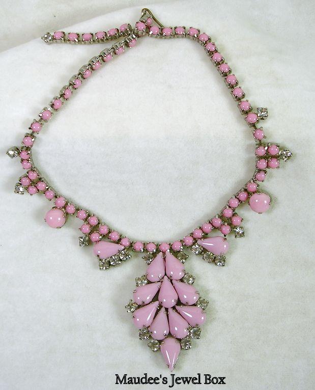 Vintage Pink Opaque and Rhinestone Bib Choker Necklace – Beautiful!