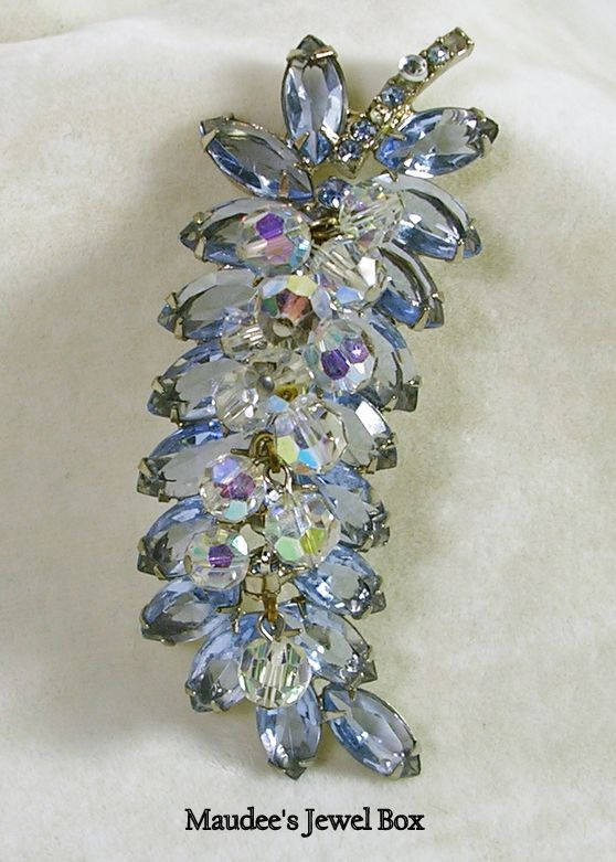 Vintage Delizza and Elster's Juliana Topaz Blue Navette Rhinestones and Aurora Borealis Faceted Beads Brooch Pin