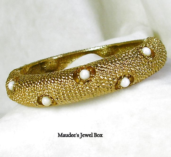 Signed Hobe Vintage Gold Tone and Milk Glass Clamper Bangle Bracelet