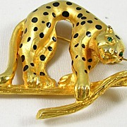 Collectible Cougar or Leopard in Gold Tone with Emerald Green Eyes