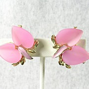 Vintage Earrings with Calla Lilly Motif Design with Faux Pink Mother of Pearl and Enamel in Silver Tone