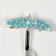 Collectible Umbrella Brooch Pin with Simulated Turquoise in Silver Tone