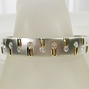Vintage Magnetic Brushed Silver Tone Bracelet with Gold  Tone and Rhinestone Design