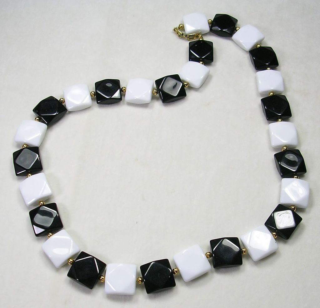 Signed Napier Black and White Faceted Square Glass Stones – Stunning!