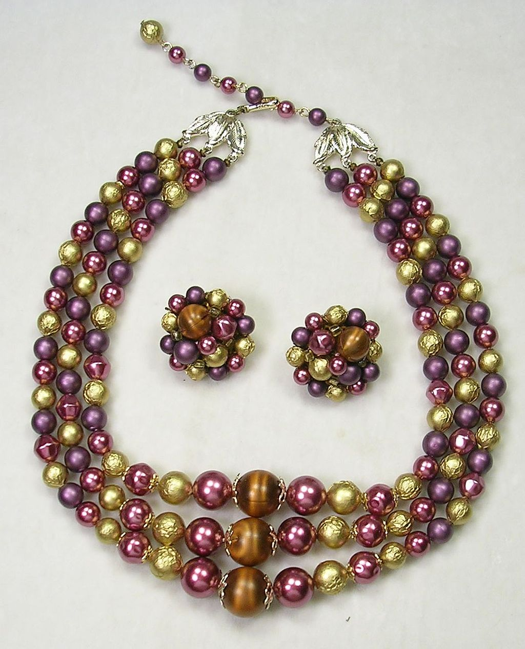 Signed Japan Triple Strand Moon Glow Lucite Beaded Necklace and Earrings with colors of Copper, Gold, Plum – c. 1940s – 1950s