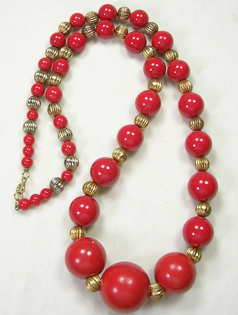 Vintage Large and Long Red Wood and Glass Beaded Necklace with Gold  Tone Beads