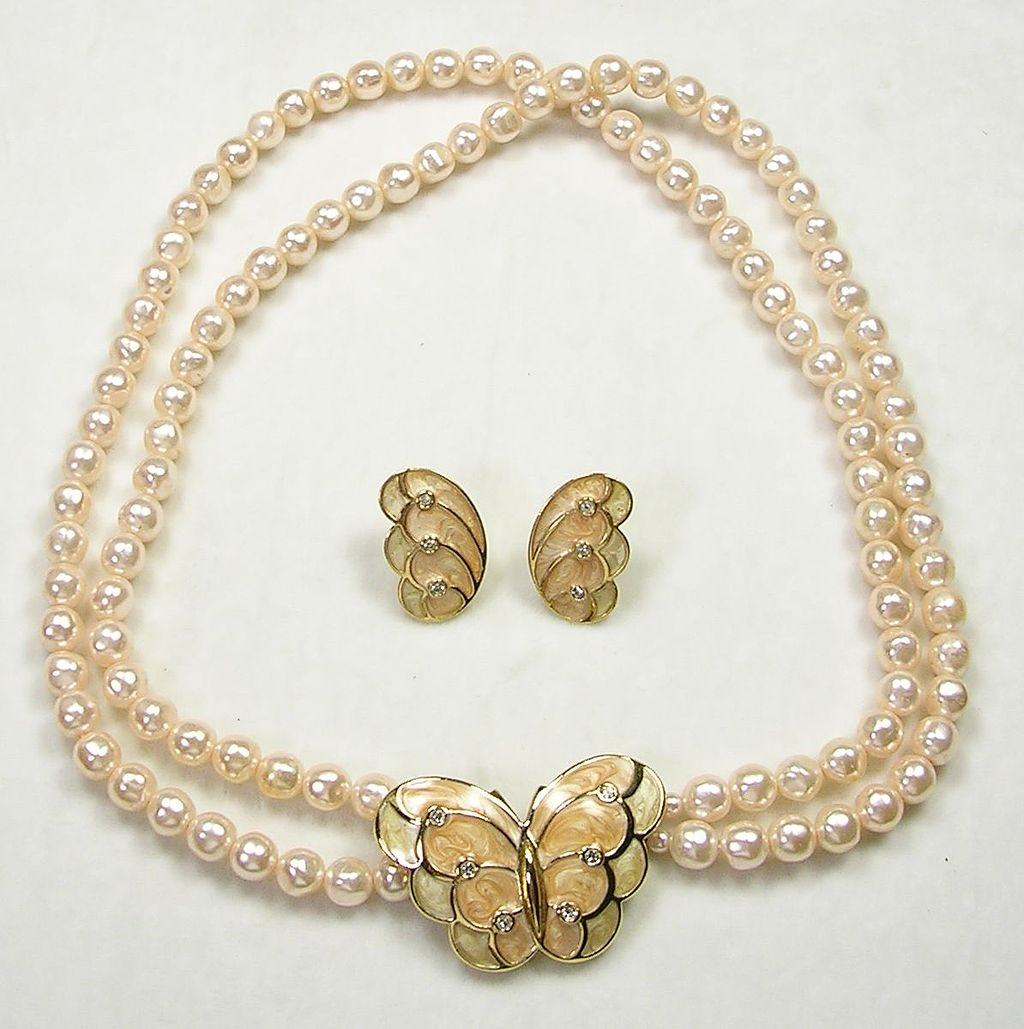 Signed KJL for Avon Simulated Pearl, Enamel Butterfly Necklace with Matching Earrings – Book Piece – Stunning!