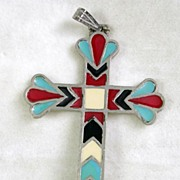 Signed Roma Vintage Silver Tone and Enamel Cross Pendant