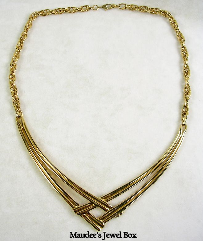 "Signed Monet Vintage Geometric ""V"" Bib Necklace in Gold Tone – Simple Elegance!"