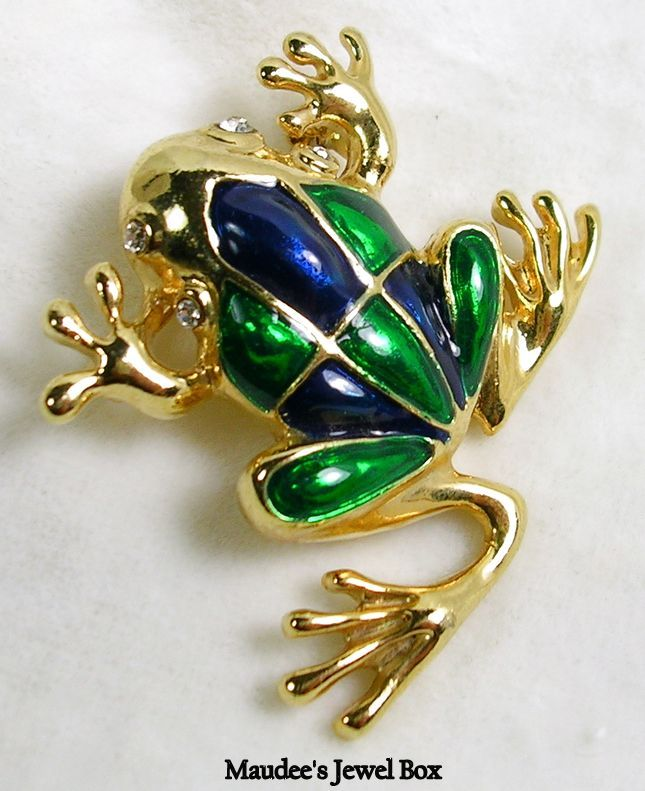Vintage Frog in Emerald Green and Royal Blue Enamel and Gold Tone Brooch