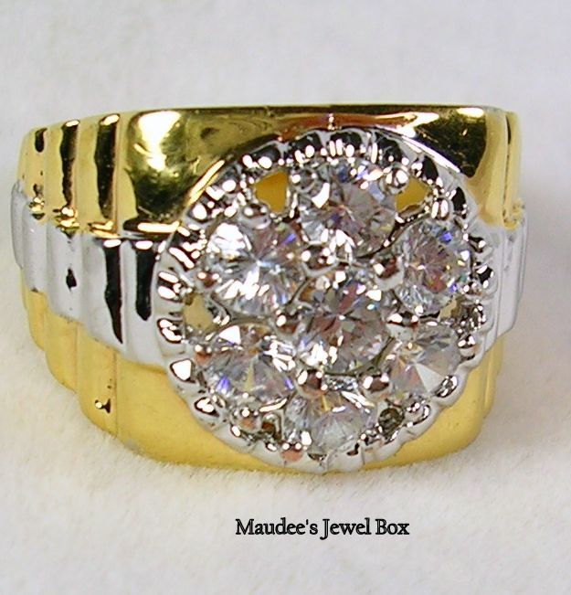 Vintage Gold & Silver Tone Cubic Zirconia  Ring for Woman or Man