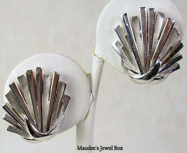 Signed Trifari Vintage Silver Tone Clip Earrings