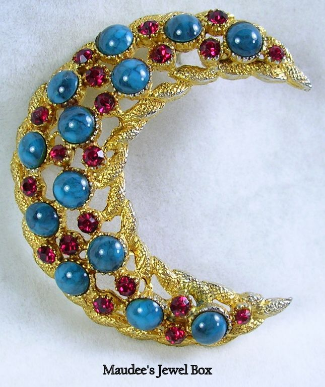 Signed HAR Vintage Moon Brooch Pin with Simulated Turquoise and Rhinestones