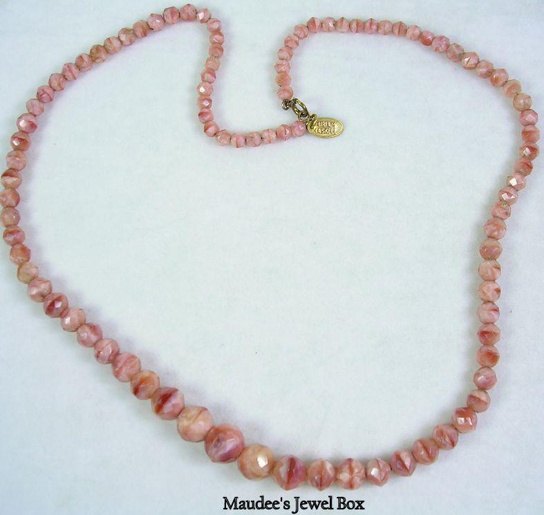 Signed Miriam Haskell Vintage Faceted Rose Quartz Necklace in 12KT Gold Filled – Stunning!