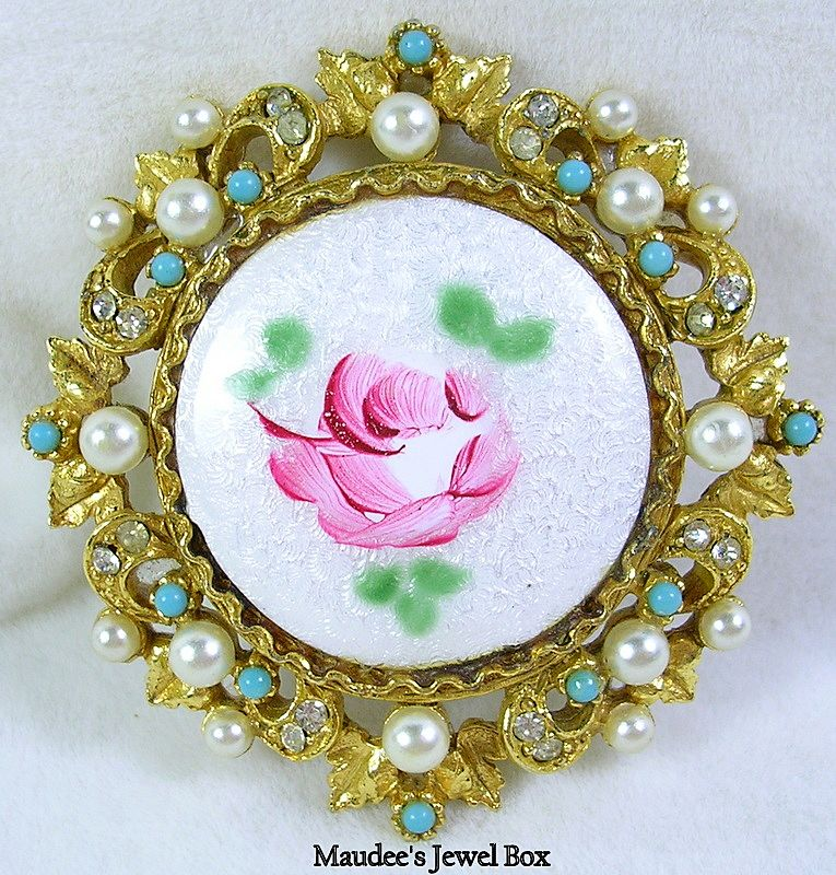 Signed ART Vintage Brooch Pin with Roses, Simulated Turquoise and Simulated Pearls