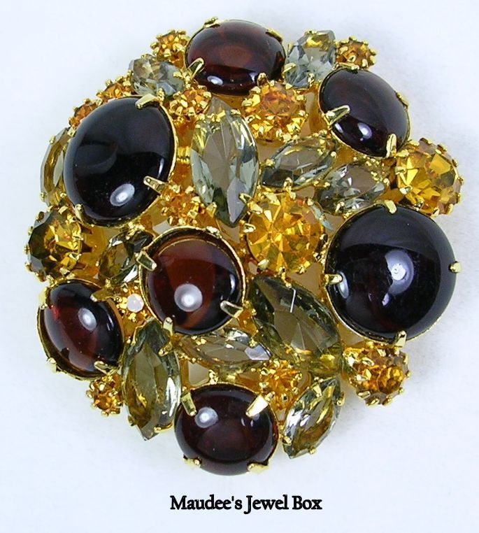 Signed Hobe Vintage Dome Brooch with Topaz Rhinestones and Cabochons