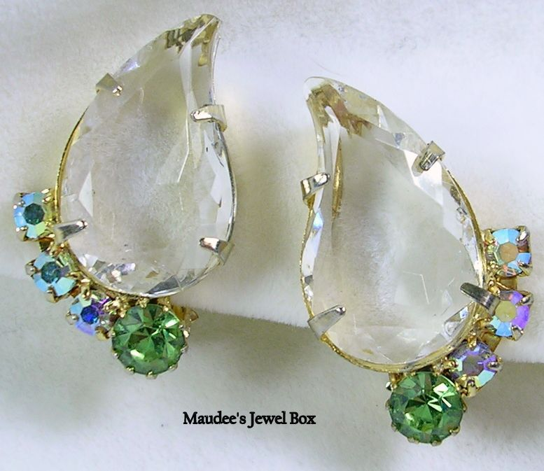 Vintage Clear Teardrop Faceted Crystal, Aurora Borealis, and Peridot Colored Rhinestone Clip Earrings