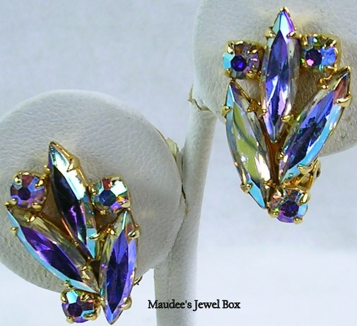 Vintage Aurora Borealis Round and Navette Rhinestone Clip Earrings
