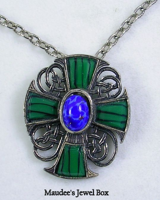 Vintage Celtic Cross with Simulated Malachite and Lapis in Silver Tone