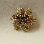 Vintage Amethyst and Clear Rhinestone Brooch