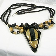Vintage Two Tone Three Strand Wood and Stone Beaded Necklace with Removable Pendant – Stunning!