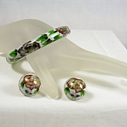 Vintage Cloisonné Glass Hinged Bangle Bracelet and Clip Earrings with Rose Motif