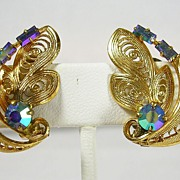Signed Germany Filigree Gold Tone Earrings with Aurora Borealis Rhinestones