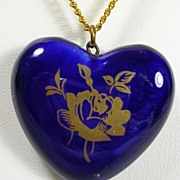 Vintage Staffordshire Perfume Heart Pendant Necklace in Original Box with Gold Tone Rose