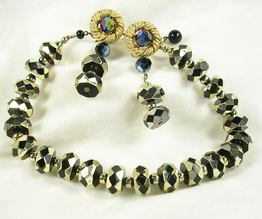 Signed Trifari Crown Necklace Choker with Clip Earrings