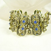 Art Nouveau Link Bracelet in Gold  Tone and Cornflower Color Rhinestones