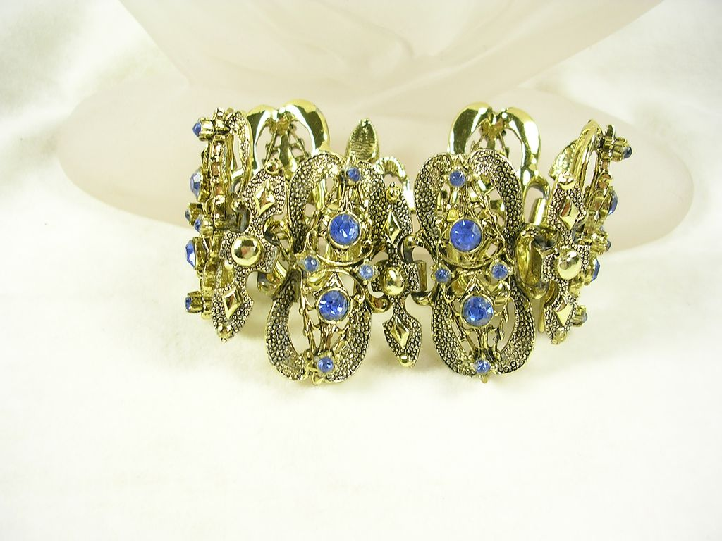 Art Nouveau Link Bracelet in Gold  Tone and Cornflower Color Rhinestones