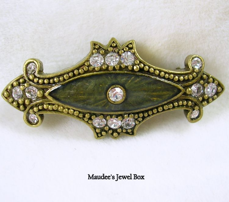 Victorian Design Brooch Pin with Rhinestones and Enamel