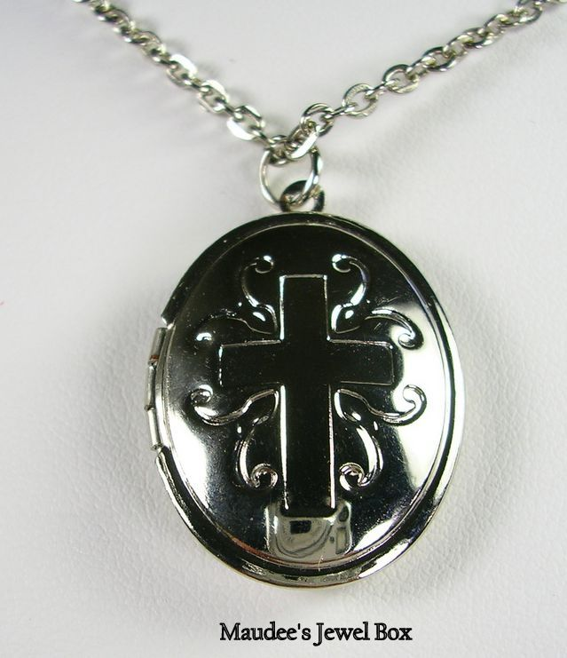Vintage Silver Tone Cross Locket with Chain