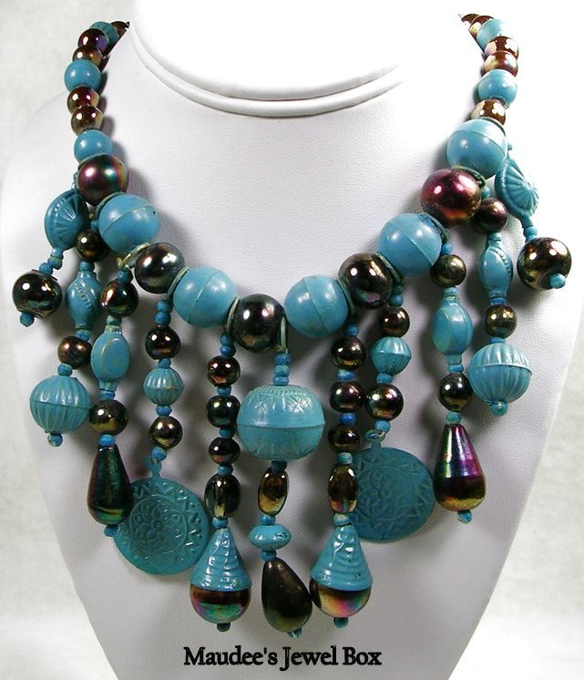 Vintage Bib Drippy Necklace with Metal and Glass Beading
