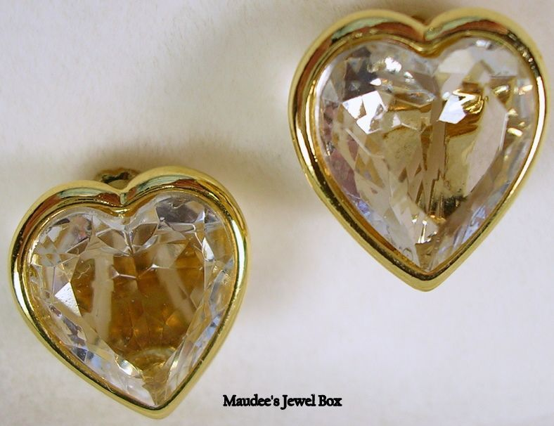 Vintage Faceted Glass Heart Clip Earrings