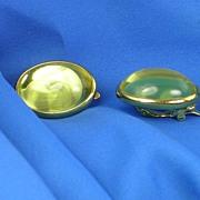 Signed Trifari Goldtone Citrine Colored Cab Stone Earrings