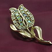 Tulip Flower AB and Crystal Rhinestone Goldtone Brooch