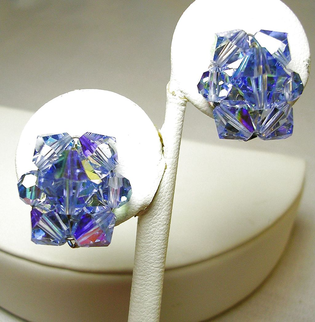 Vintage Rich Deep Powder Blue Aurora Borealis Crystal Clip Earrings in Silver Tone