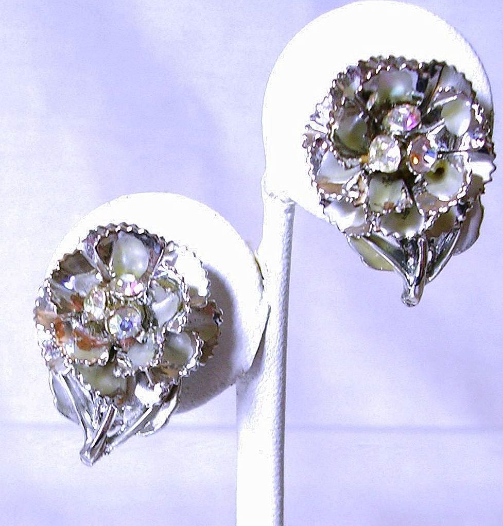 Vintage Earrings with Aurora Borealis Rhinestones in Silver Tone