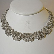 Vintage Signed Trifari with Crown Key Silver Tone Open Design Nugget Necklace Choker