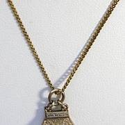 Signed Carl-Art Purse Pendant with Chain in 12KT Yellow over Silver c. 1950s
