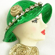 Vintage Porcelain Face Lady Pin Brooch