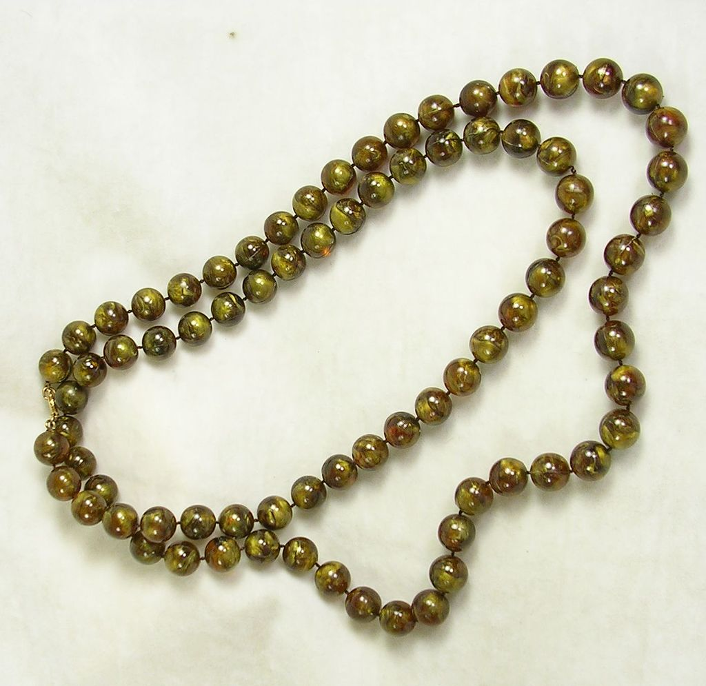 "Vintage Simulated Tiger's Eye Beaded 45"" Necklace"